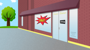 A drawing of a storefront, which is one of the places where to find packing supplies.