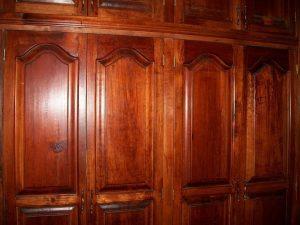 A wooden closet