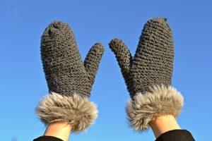 A person wearing mittens.