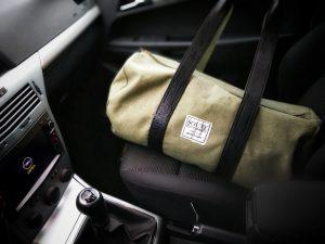 A bag in a front seat of a car